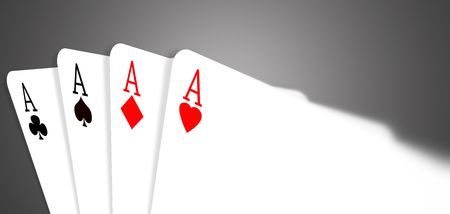 Four aces on a red gradient background