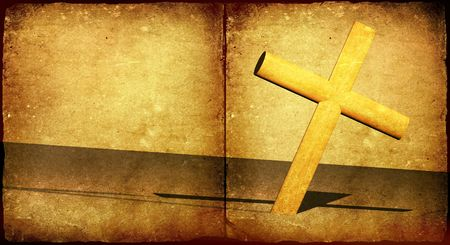 abstract symbolism: Holy cross with old yellow paper 2D  art Stock Photo