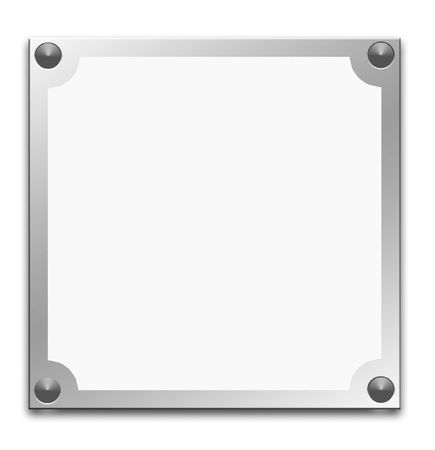 Metallic border frame on white background