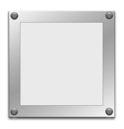 steel frame: Metallic border frame on white background