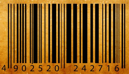 Old bar code label, 2D digital art photo