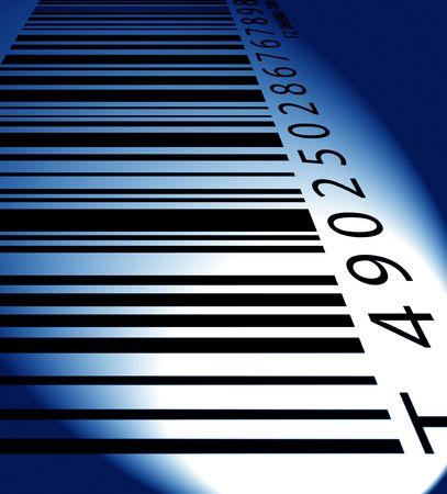 manufacturer: Bar code label in color light,2D digital art Stock Photo