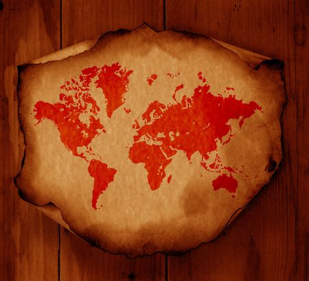 Vintage world map,2D digital art Stock Photo - 3398246
