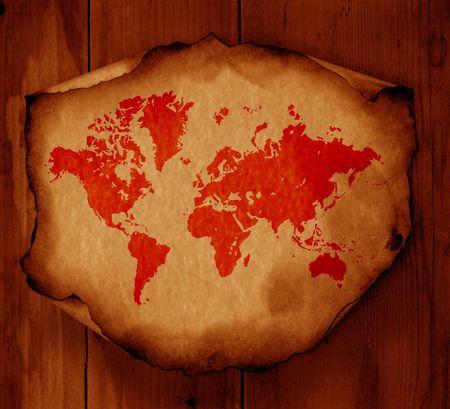 Vintage world map,2D digital art Stock Photo - 3398246