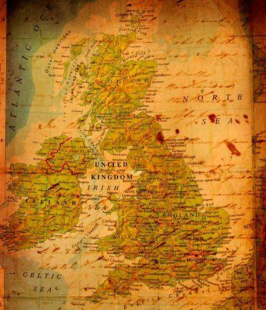 uk map: Vintage UK map Stock Photo