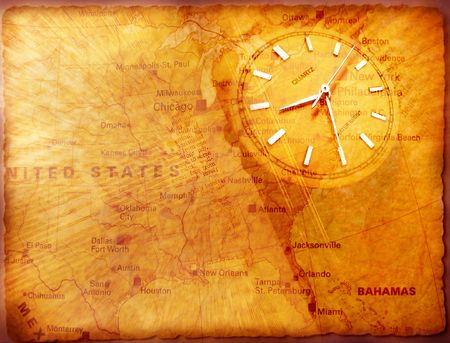 Clock with old textured map Stock Photo - 3398249