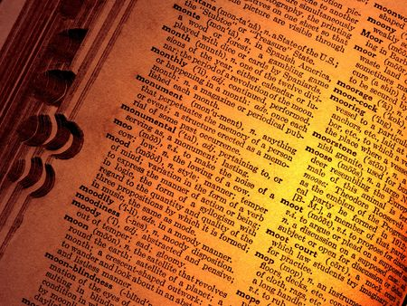 english dictionary: Close-up of old English dictionary