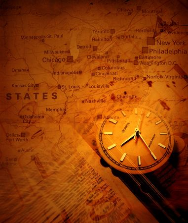 Clock with old textured map Stock Photo - 3398269
