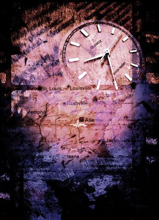 Clock with old textured map Stock Photo - 3398337