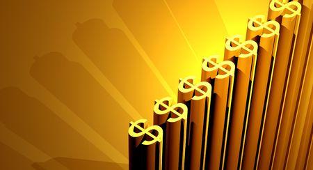 earnings: 3D Render Golden Dollars,3D art Stock Photo