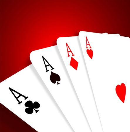 Four aces on color background,2D illustration Stock Illustration - 3398172