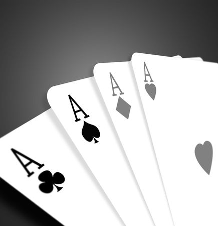 highest: Four aces on color background,2D illustration