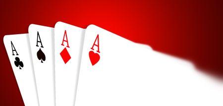 Four aces on color background,2D illustration  illustration