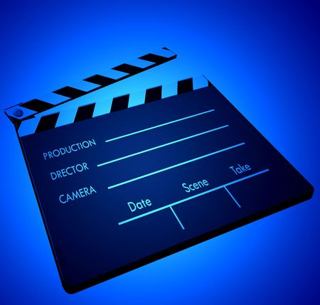 shinning light: Film clapper in color light Stock Photo