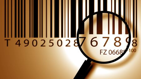 manufacturer: Bar code label with lens Stock Photo