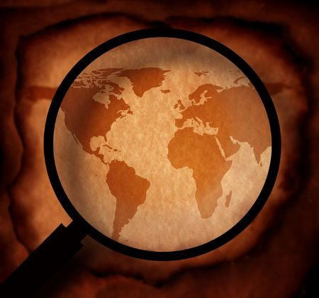 terra: Vintage world map with magnifying glass
