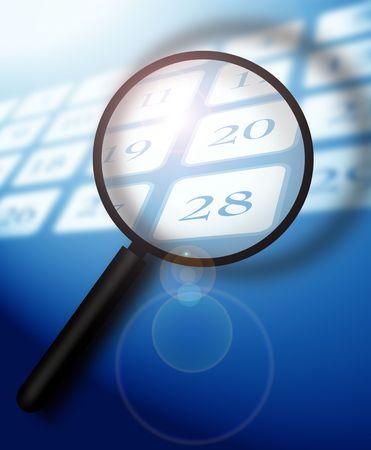 Calendar with magnifying glass,2D art Stock Photo - 3405323
