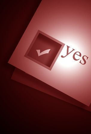 thumbtacked: paper sheet with YES word