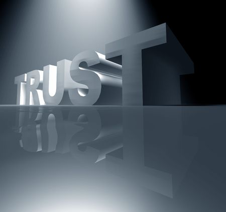 chiseled: 3D rendered TRUST text,3D art