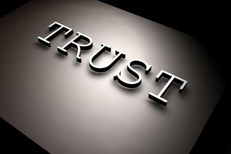 3D rendered TRUST text,3D art Stock Photo - 3406509