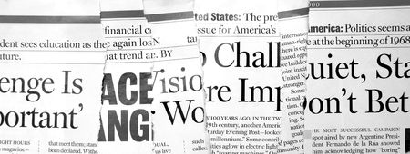 newsworthy: Close up of new paper headlines