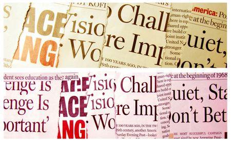 happenings: News paper headlines Stock Photo