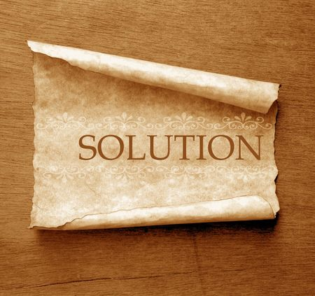 Solution word with Old paper Stock Photo