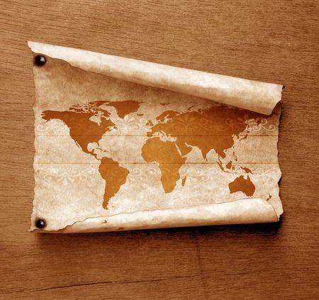Vintage world map,2D digital art Stock Photo