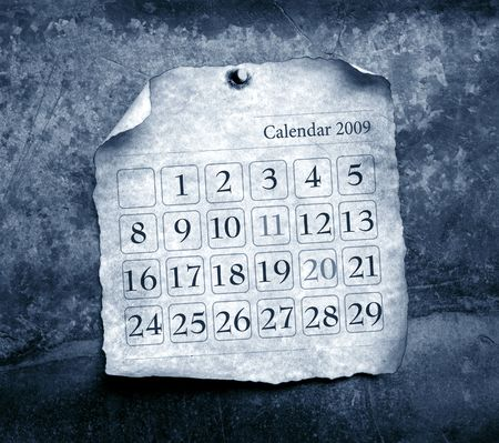 discolored: Close up of calendar with burned edges Stock Photo