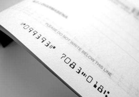 dinero falso: Cheque bancario Foto de archivo