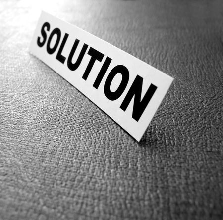 unravel: Close up of Solution tag Stock Photo