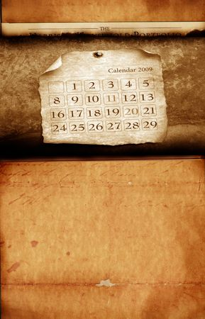 Close up of calendar with burned edges photo