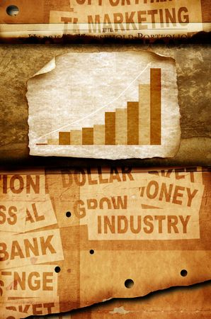 Business statistics on Old paper photo