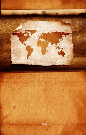 Vintage world map,2D digital art photo