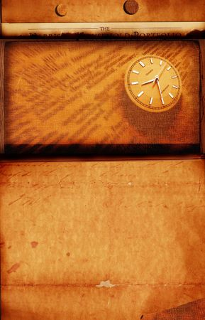 Close up of clock with old textured background photo