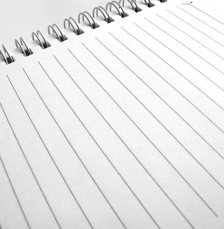 Close up of blank Spiral notepad photo