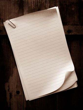 Writing old note paper on wood background Stock Photo - 3433212