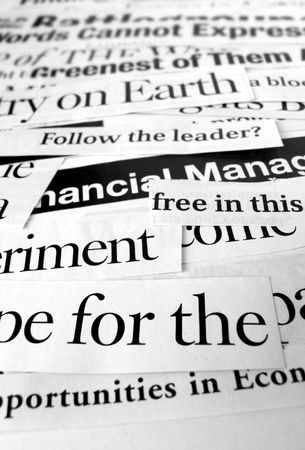 Close up of new paper headlines Stock Photo - 3433769