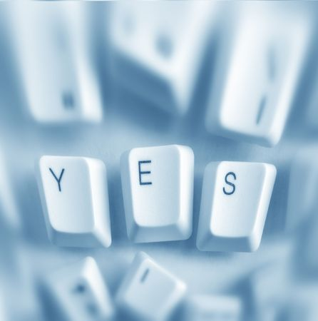 approbation: Computer keys with yes word