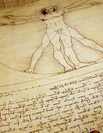 vitruvian man: Foto del Hombre de Vitruvio de Leonardo Da Vinci de 1492 sobre textura de fondo.