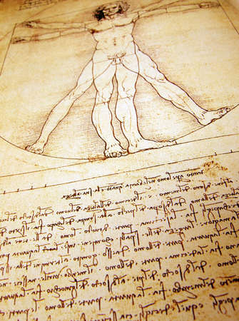 da vinci: Photo of the Vitruvian Man by Leonardo Da Vinci from 1492 on textured background.
