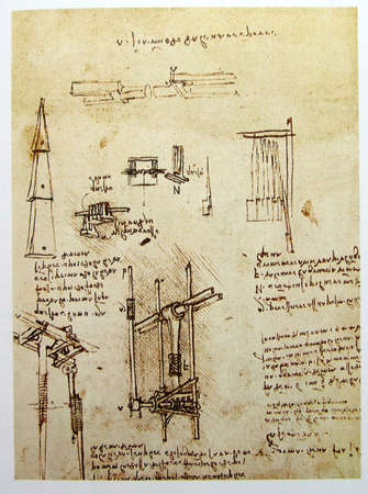 Leonardos Da Vinci engineering drawing  from 1503 on textured background. photo