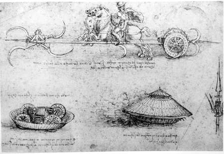 Leonardos Da Vinci engineering drawing  from 1503 on textured background. Stock Photo