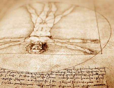 vitruvian man: Foto del Hombre de Vitruvio de Leonardo Da Vinci de 1492 sobre textura de fondo. Foto de archivo