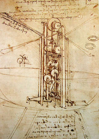 engineering drawing: Leonardos Da Vinci engineering drawing  from 1503 on textured background. Stock Photo