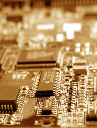 Close up electronic circuit board photo