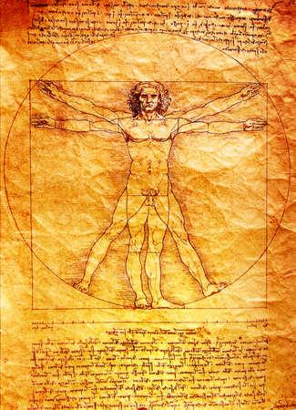 vitruvian man: Foto del Hombre de Vitruvio de Leonardo Da Vinci de 1492 sobre la textura de fondo.
