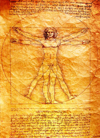 Photo of the Vitruvian Man by Leonardo Da Vinci from 1492 on textured background. photo