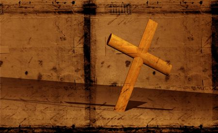redeemer: Holy cross with old yellow paper