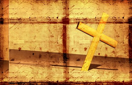 redemption: Holy cross with old yellow paper